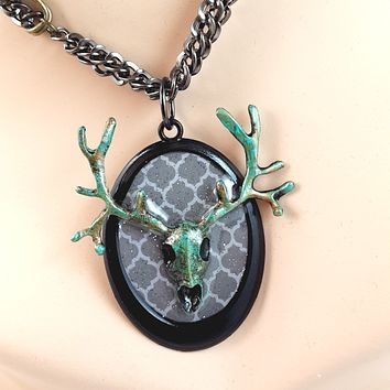Deer Skull Cameo Statement Necklaces