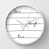 Love Laugh Live Wall Clock by Mareike Böhmer Graphics