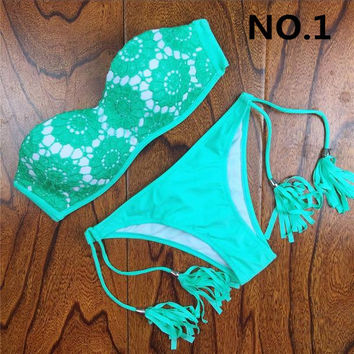2017 Summer Style Floral Print Women Bikinis Set Crochet Lace Swimsuit Strapless Push Up Bandeau Biquinis Beachwear Bathing Suit -03115