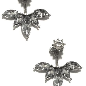 India Front-Back Stud Earrings in Silver