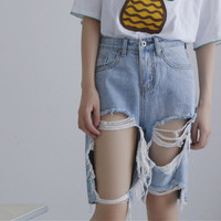 Women's ripped boyfriend holes loose Jeans Shorts a13627