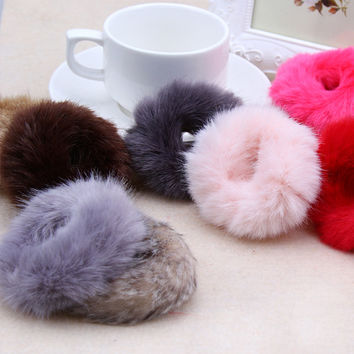 Cute Trendy Warm Soft Polyester Rabbit Fur Elastic Hair Rope Band Hair Accessory Rubber Band Girls Headwear Free Shipping LY