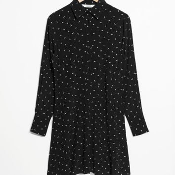 Fit & Flare Shirt Dress - Black Micro Birds - Mini dresses - & Other Stories US