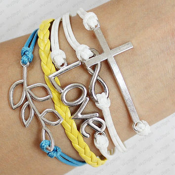 Silver leaves Cross and  Infinity Wish LOVE Bracelet  women jewelry bangle yellow leather cuff bracelet men cuff bracelet