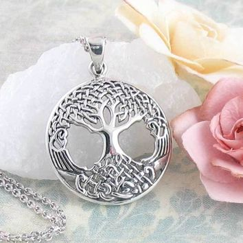 Intricate Celtic Tree of Life Necklace in Sterling Silver