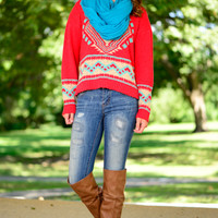 Sky Is The Limit Sweater, Red