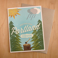 Greetings From Portland Oregon Blank Card