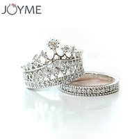 Size 5.5 Plated Zircon Crown Ring For Women Elegant Luxury CZ Diamond Engagement Party Ring Set