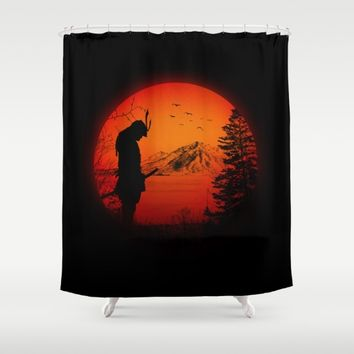 My Love Japan / Samurai warrior Shower Curtain by Badbugs_art