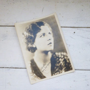 Old photo, black and white photo, May McAvoy, old photography, silent film star, ben-hur, publicity photo, signed photo, autograph, signed