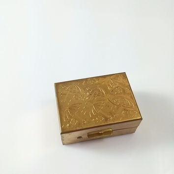 Vintage 1950s Brass Hinged Box With Plastic Rain Hat