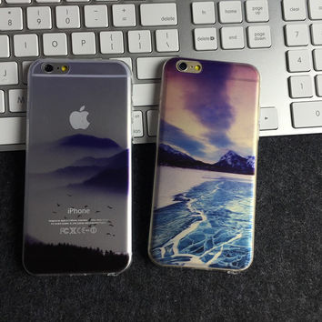 New Custom Landscape Painted TPU Soft Case With Dust Plug Ultra Thin Cell Phone Back Cover Case for iPhone 6 iPhone6 4.7 inch