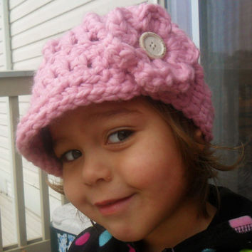Crochet Newsboy Cap with Flower in Light by SoLaynaInspirations