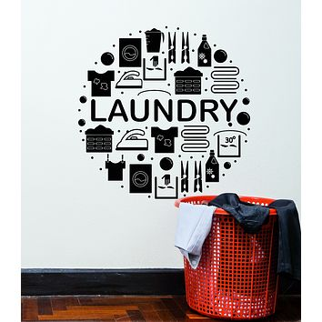 Vinyl Wall Decal Words Laundry Decor Dry Cleaning Service Washing Machine Stickers Mural (g1603)