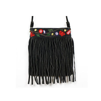 Suede Fringe Bag Black Floral Embroidered Small Crossbody Hippie Boho Cross Body Festival Purse
