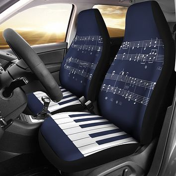 Navy Musical Piano Car Seat Covers