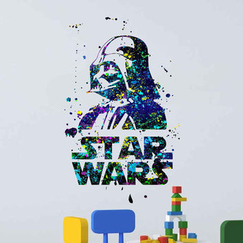 kcik1732 Full Color Wall decal poster space Watercolor paint splashes Darth wader star wars living room bedroom