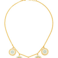20K Sky Blue Enamel Coin Necklace | Moda Operandi