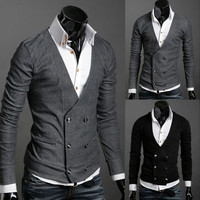 Mens Slim Cardigan Sweater