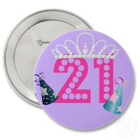 21st Birthday Purple Princess Buttons from Zazzle.com