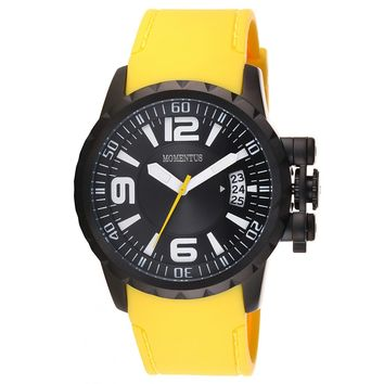 Momentus FS108Y-04RB Men's Functional Sport Black Dial Yellow Rubber Strap Watch