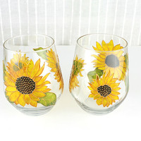 Wine Glasses, Wedding Glasses,  Anniversary glasses, Sunflowers,  Hand painted, Set of 2, Stemless Wine Glasses, Ready to ship
