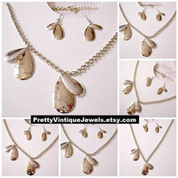 Monet Teardrop Flower Petals Pierced Earrings Necklace Silver Gold Tone Vintage Oval Link Chain Surgical Steel Wires Lobster Claw Clasp
