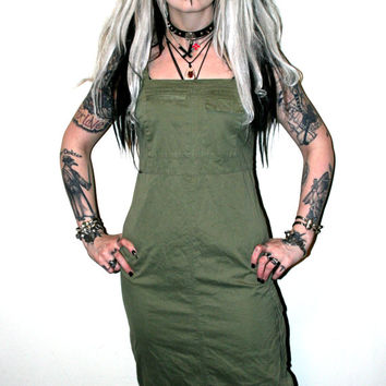 90s Goth industrial rivethead army green dress with zippers pastel goth grunge cyber