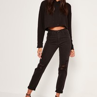 Missguided - Black Riot High Rise Busted Knee Mom Jeans
