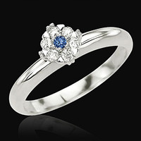 1.51 carat blue diamonds anniversary ring 14K white