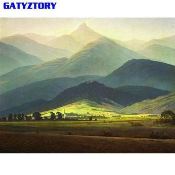 GATYZTORY Mountain DIY Painting By Numbers Kit Landscape Modern Wall Art Picture HandPainted Oil Painting For Home Decor Artwork