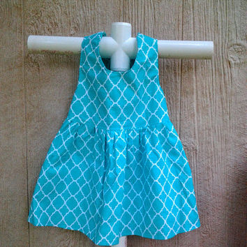 Toddler Summer Dress Size 2, Morocco Dress, Aqua Toddler Sundress, Girl Party Dress, Quatrefoil Dress, Toddler Girl Clothes,