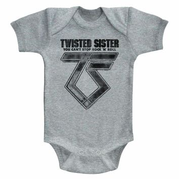 TWISTED SISTER-CAN'T STOP ROCK'N'ROLL-GRAY HEATHER INFANT S/S BODYSUIT