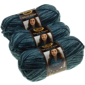 Lion Brand Yarns Wool Ease Tonal Slate Blue Lot of 3 Acrylic Knitting Crocheting