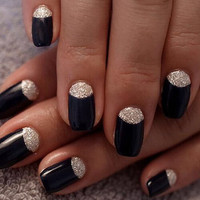 Shiny, Black Nails, glitter half moons, false nails, press on nails