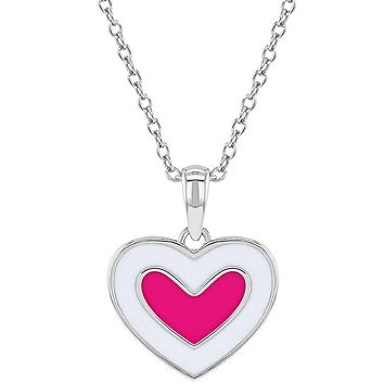 925 Sterling Silver Enamel Pink White Heart Pendant Necklace for Girls Kids 16""