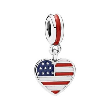 Women's PANDORA Flag Heart Dangle Charm