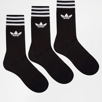 adidas Originals 3 Pack Crew Socks In Black S21490 at asos.com