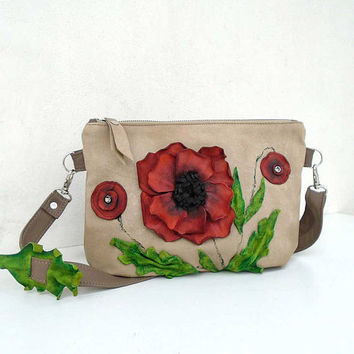 3D natural leather bag, Designer bag with leather flower, beige bag poppies, crossbody leather purse, day bag, evening bag, leather clutch