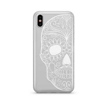 Henna Half Sugar Skull - Clear TPU Case Cover