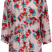 ROMWE Red Floral Print Long-sleeved Pink Blouse