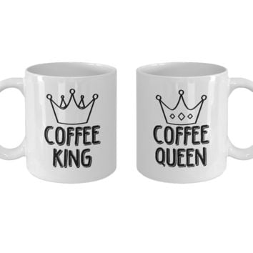 Coffee King and Queen Mug Set, Couple Matching Mugs, Relationship Goals, His and Hers Gifts, Unique Anniversary Christmas Wedding Valentine's Day Gift, 11oz, Set of 2