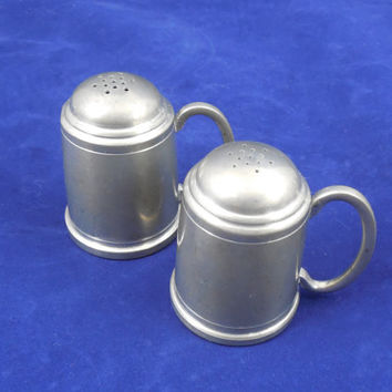"American Pewter Salt and Pepper Shakers by A.L. Hanle, 2 3/8"" Tall, Vintage Tankard Look Salt and Pepper"