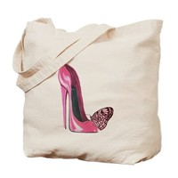 Pink Stiletto Shoe and Butterfly Art Tote Bag on CafePress.com