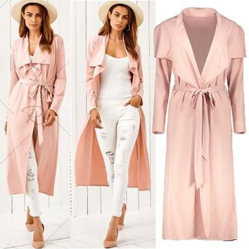 HIRIGIN Newest 2018 Women's Long Sleeve Cardigan Open Front Draped Solid Casual Irregular Trench Winter Fashion Coats