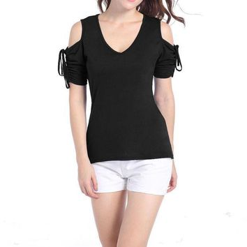 ESB8UH Summer Ladies T-shirt Womens Cold Shoulder Short Sleeve Fashion T shirt Casual Low Cut Shirt Tops