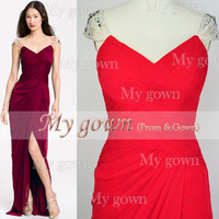 Floor Length With Draped Beads Crystal Red Prom Gown, Dresses, Wedding Dresses ,Cocktail Dress
