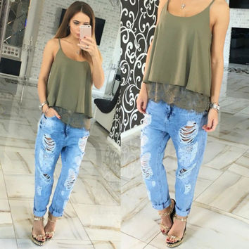 Summer Fashion Women's Lace Bottom Camis Casual Crop Tank Tops Solid Shirt 4 Colors