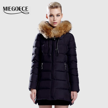 Warm Jacket And Coat For Women  MIEGOFCE New Winter Collection 2016 High Quality Female Warm Parka  Collar From Sable thick hood