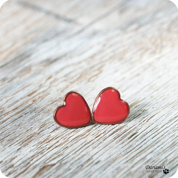 Post earrings - Coral hearts